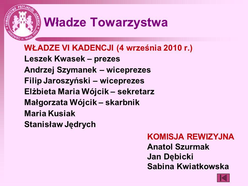 Władze Towarzystwa WŁADZE VI KADENCJI (4 września 2010 r.)