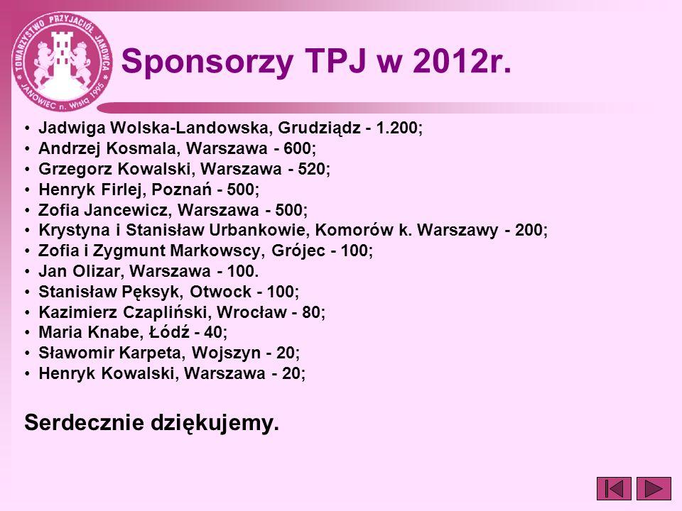 Sponsorzy TPJ w 2012r. Serdecznie dziękujemy.
