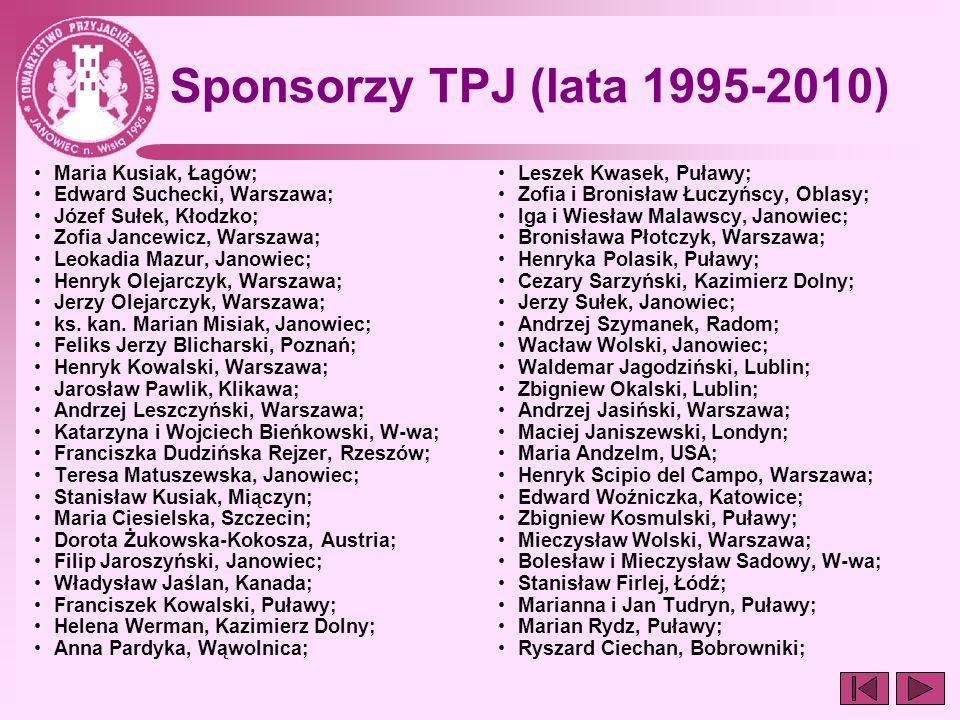 Sponsorzy TPJ (lata 1995-2010) Maria Kusiak, Łagów;