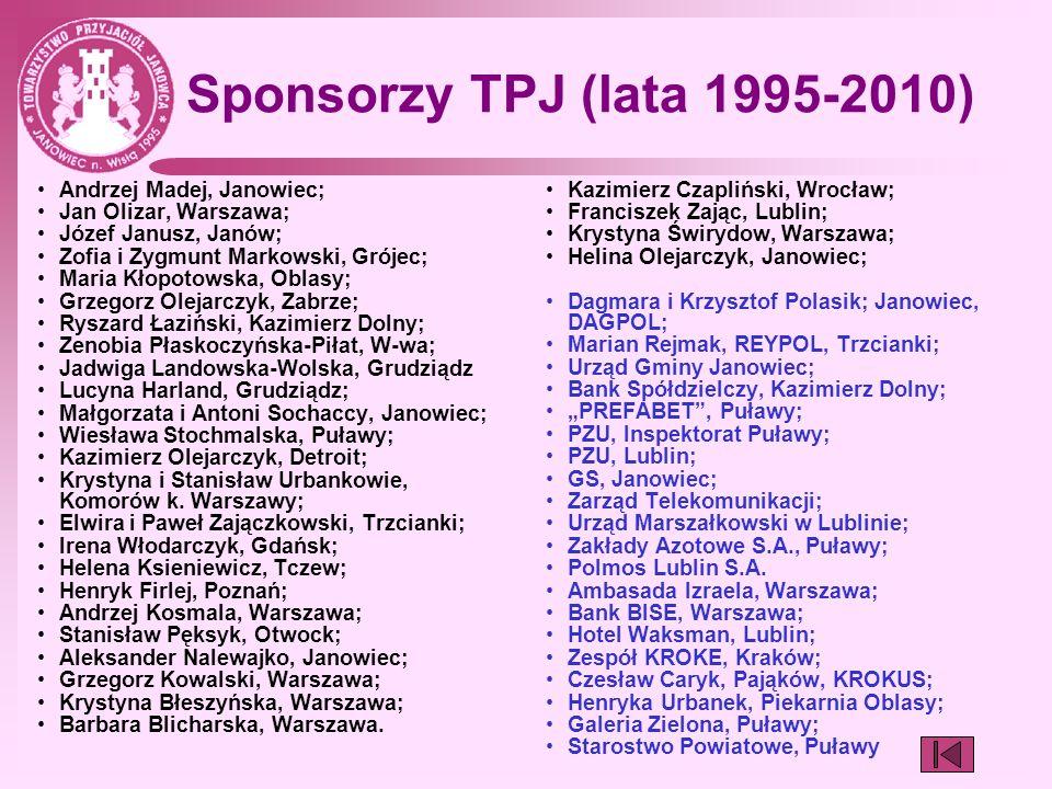 Sponsorzy TPJ (lata 1995-2010) Andrzej Madej, Janowiec;