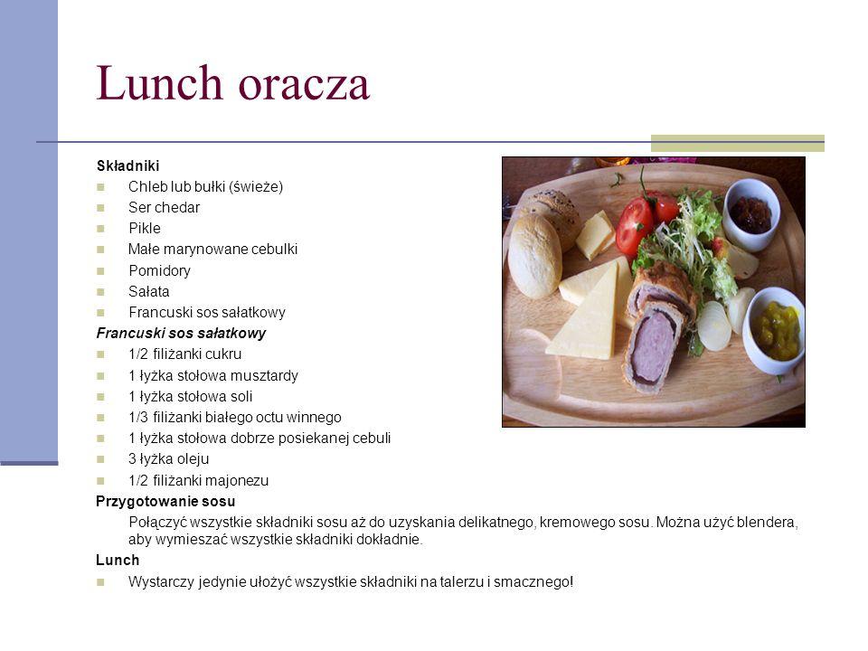 Lunch oracza Składniki Chleb lub bułki (świeże) Ser chedar Pikle