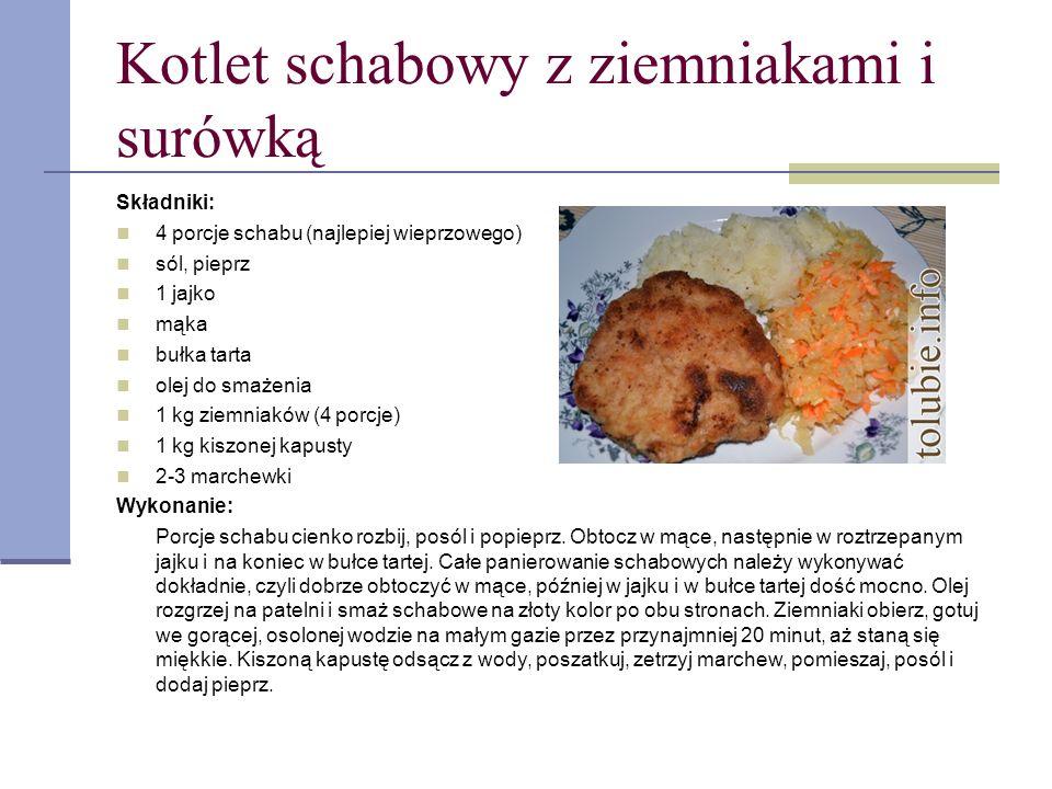 Kotlet schabowy z ziemniakami i surówką