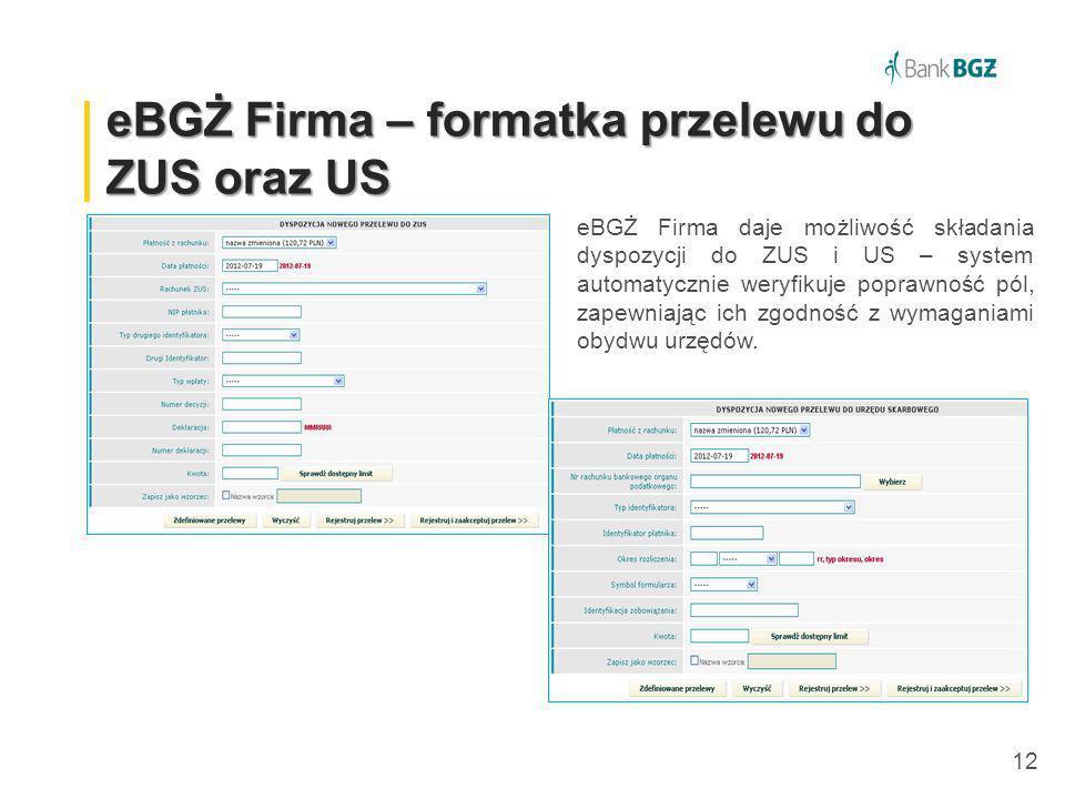 eBGŻ Firma – formatka przelewu do ZUS oraz US