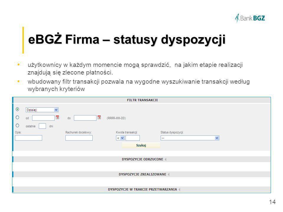 eBGŻ Firma – statusy dyspozycji
