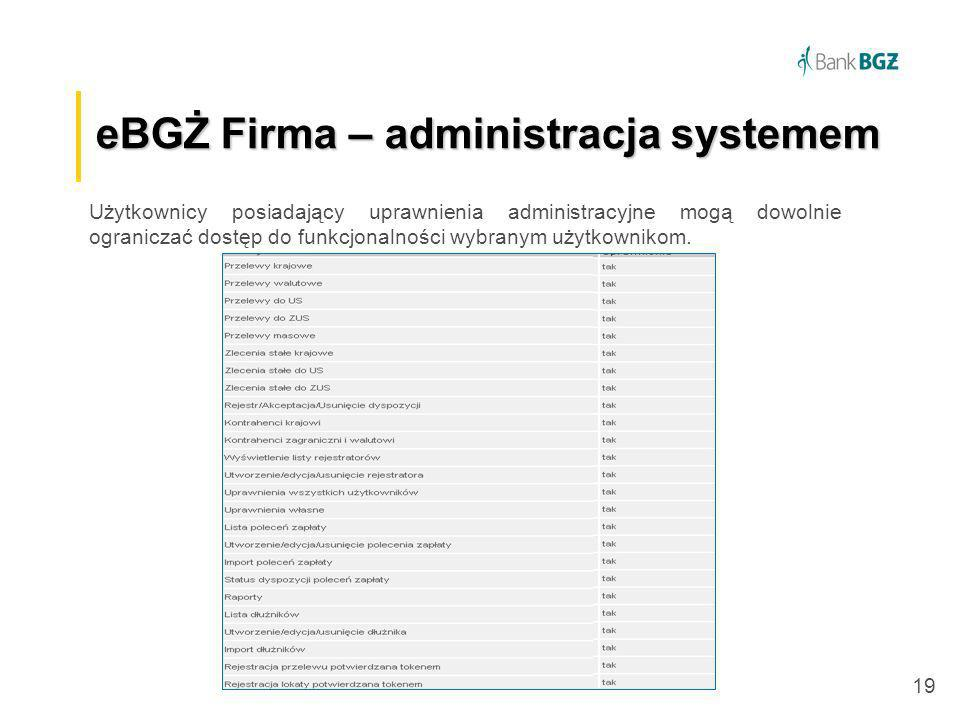 eBGŻ Firma – administracja systemem