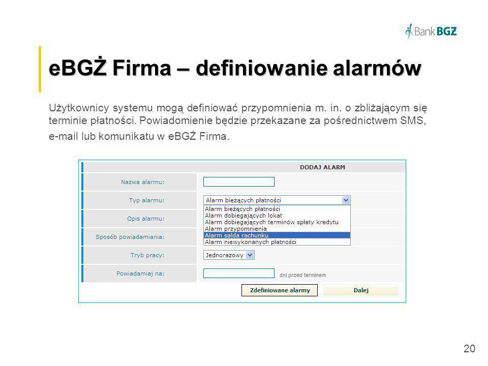eBGŻ Firma – definiowanie alarmów