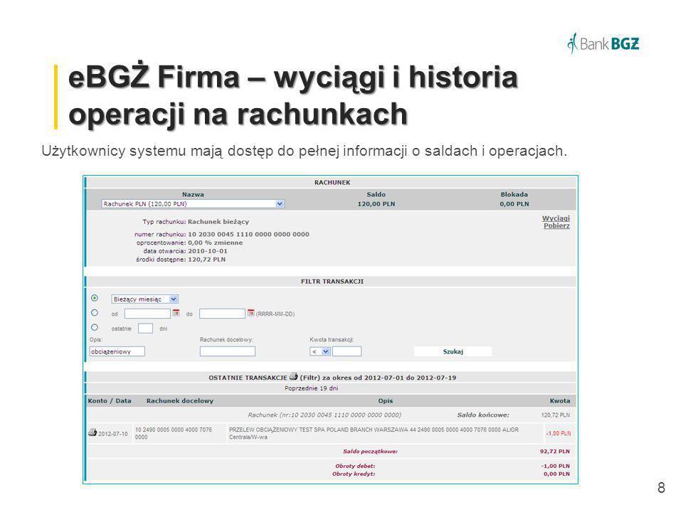 eBGŻ Firma – wyciągi i historia operacji na rachunkach