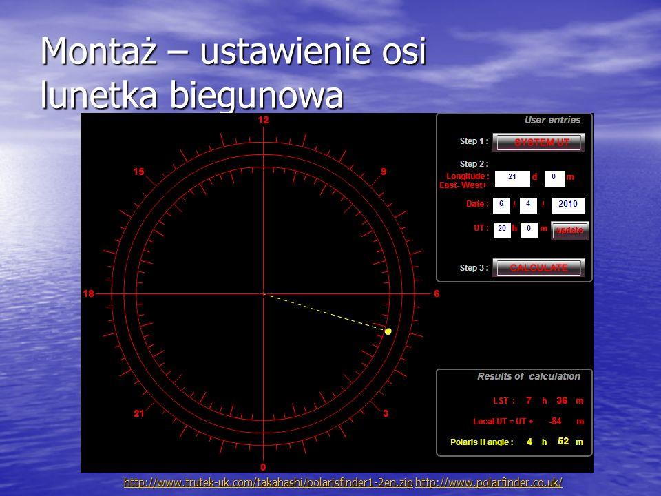 Montaż – ustawienie osi lunetka biegunowa