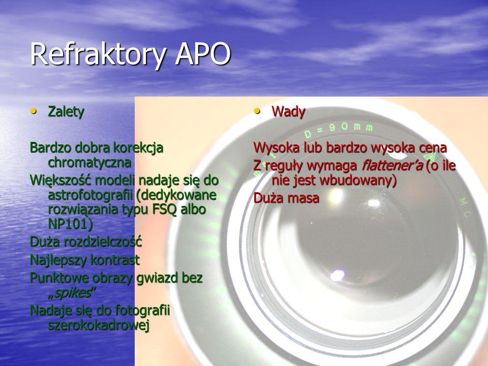 Refraktory APO Zalety Bardzo dobra korekcja chromatyczna