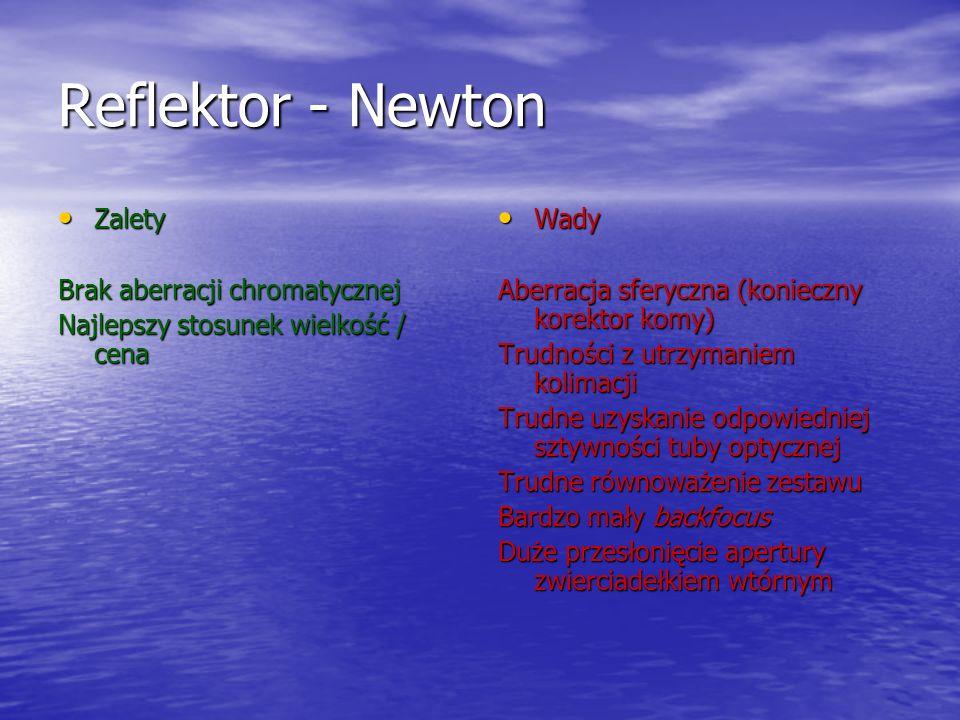 Reflektor - Newton Zalety Brak aberracji chromatycznej