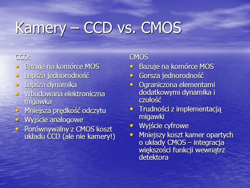 Kamery – CCD vs. CMOS CCD: Bazuje na komórce MOS Lepsza jednorodność