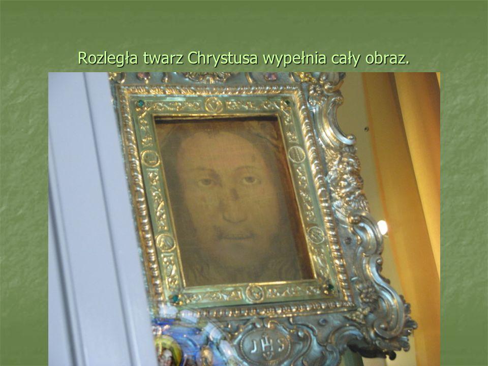 Rozległa twarz Chrystusa wypełnia cały obraz.