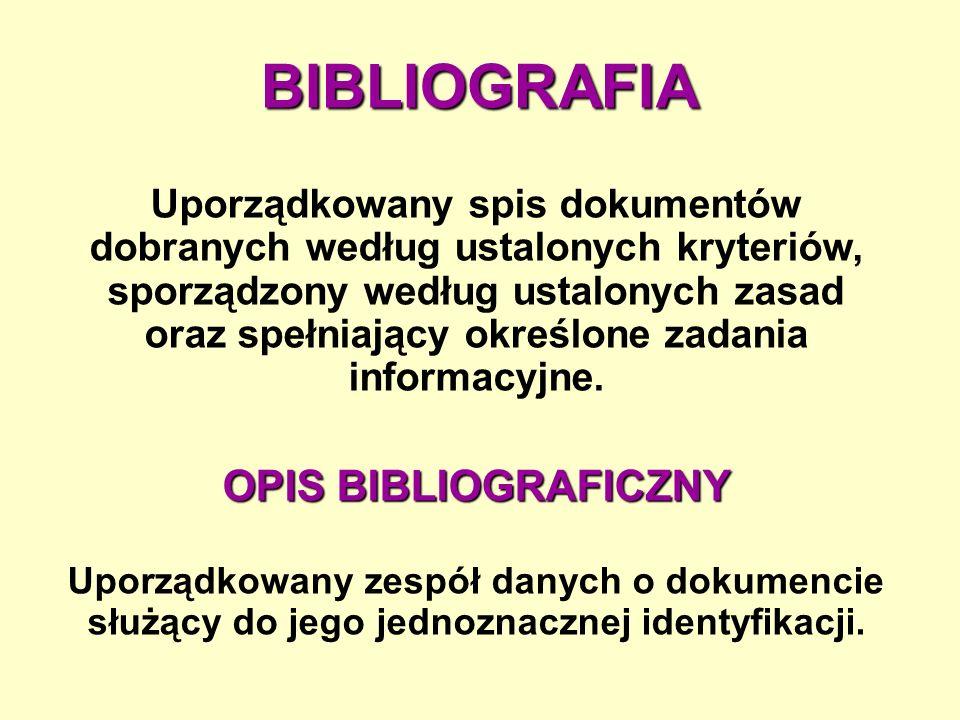 BIBLIOGRAFIA OPIS BIBLIOGRAFICZNY