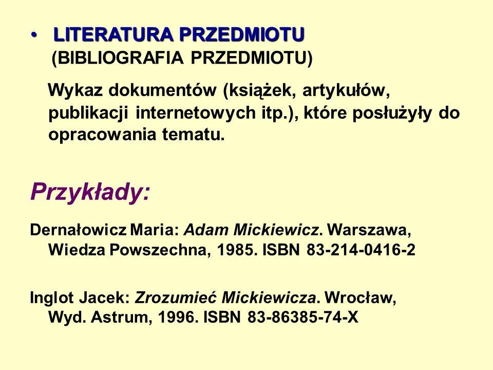 LITERATURA PRZEDMIOTU (BIBLIOGRAFIA PRZEDMIOTU)