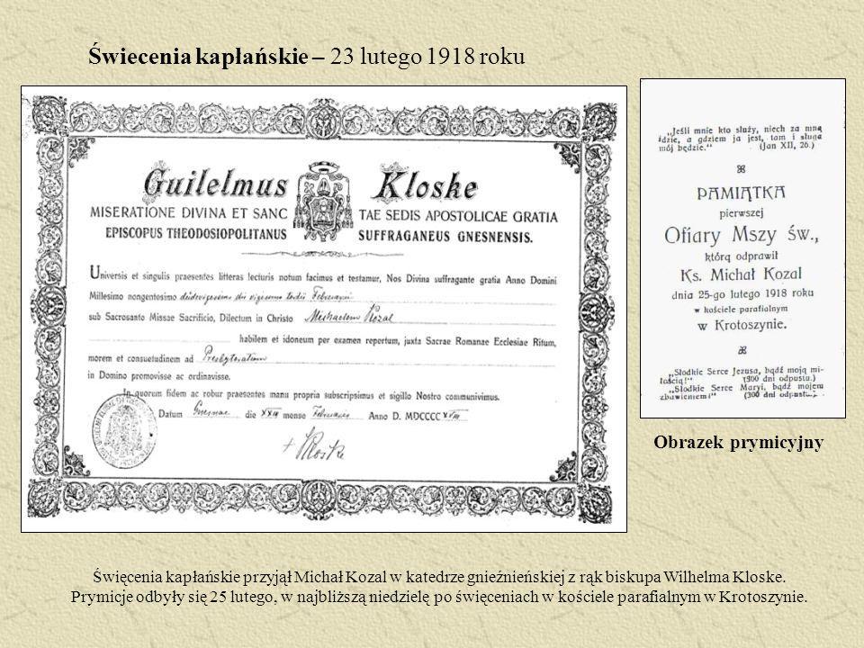 Świecenia kapłańskie – 23 lutego 1918 roku