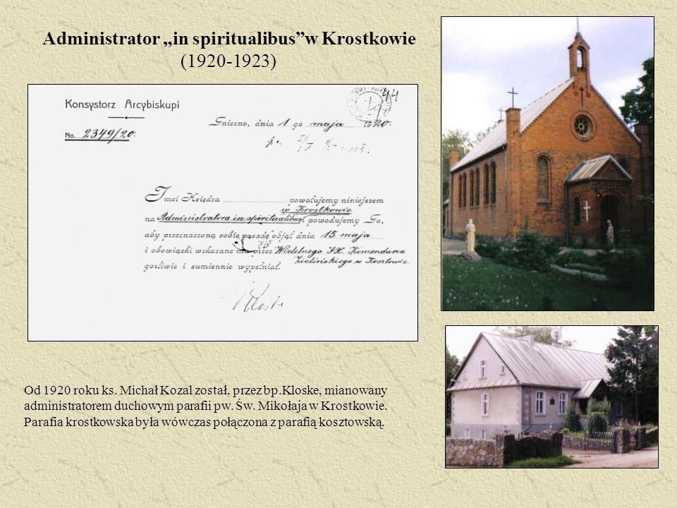 """Administrator """"in spiritualibus w Krostkowie (1920-1923)"""