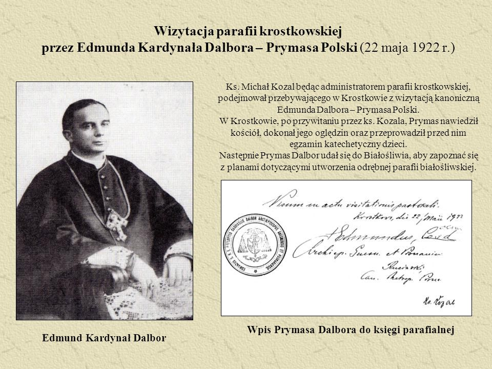 Wizytacja parafii krostkowskiej przez Edmunda Kardynała Dalbora – Prymasa Polski (22 maja 1922 r.)