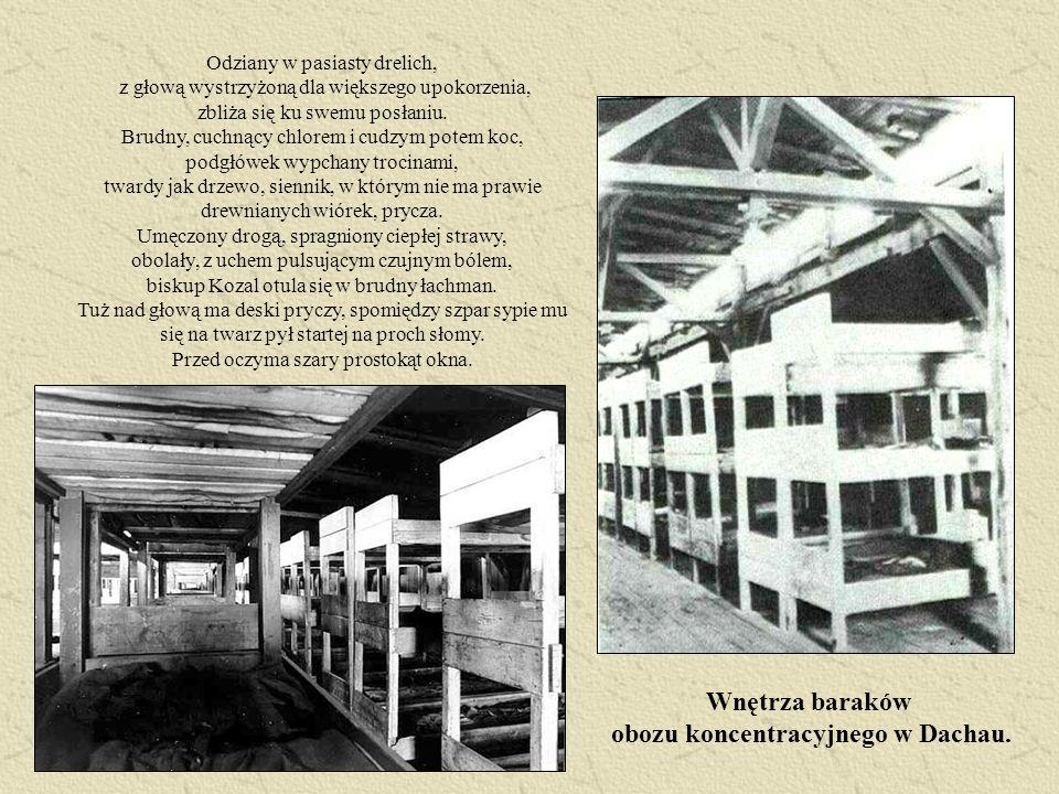 Wnętrza baraków obozu koncentracyjnego w Dachau.