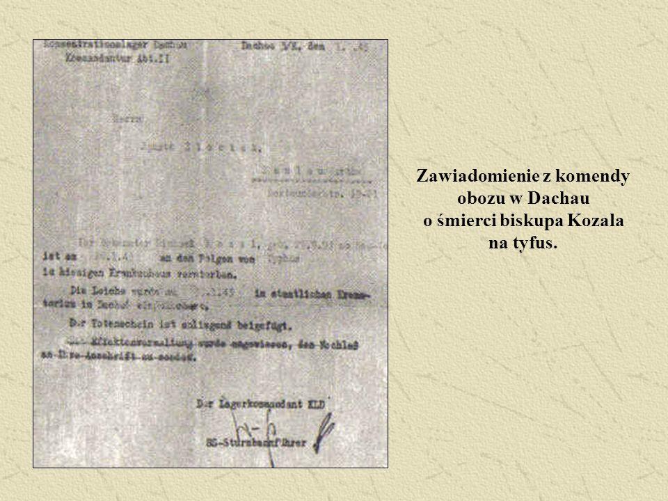 Zawiadomienie z komendy obozu w Dachau o śmierci biskupa Kozala na tyfus.