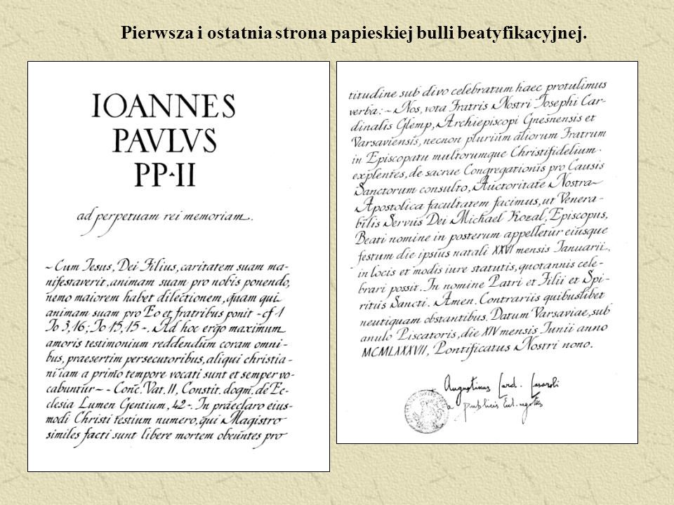 Pierwsza i ostatnia strona papieskiej bulli beatyfikacyjnej.