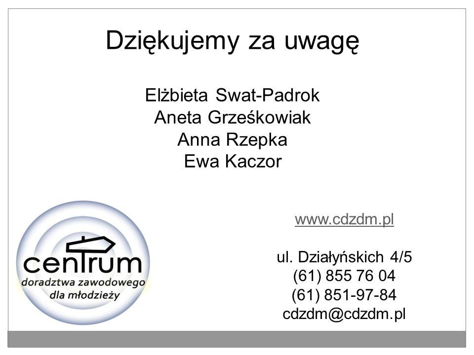 Dziękujemy za uwagę Elżbieta Swat-Padrok Aneta Grześkowiak Anna Rzepka