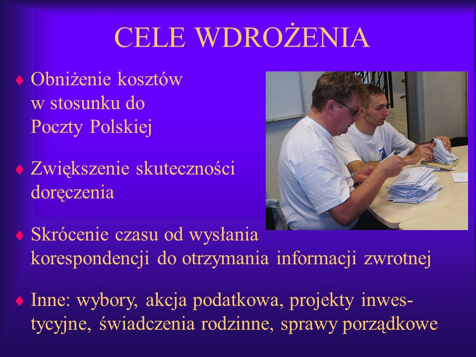 CELE WDROŻENIA Obniżenie kosztów w stosunku do Poczty Polskiej