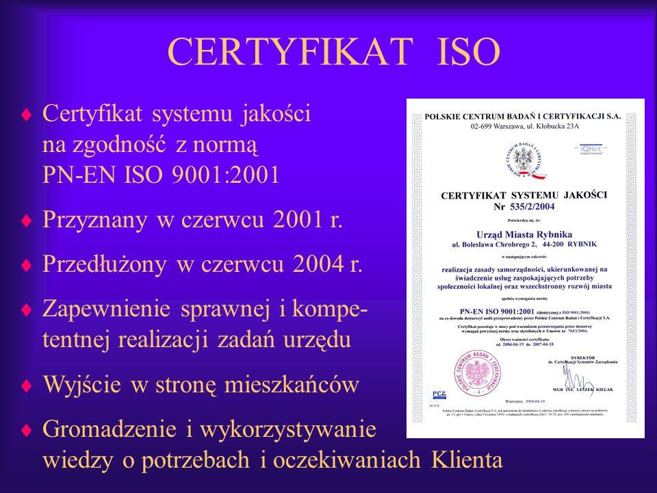 CERTYFIKAT ISO Certyfikat systemu jakości na zgodność z normą PN-EN ISO 9001:2001. Przyznany w czerwcu 2001 r.