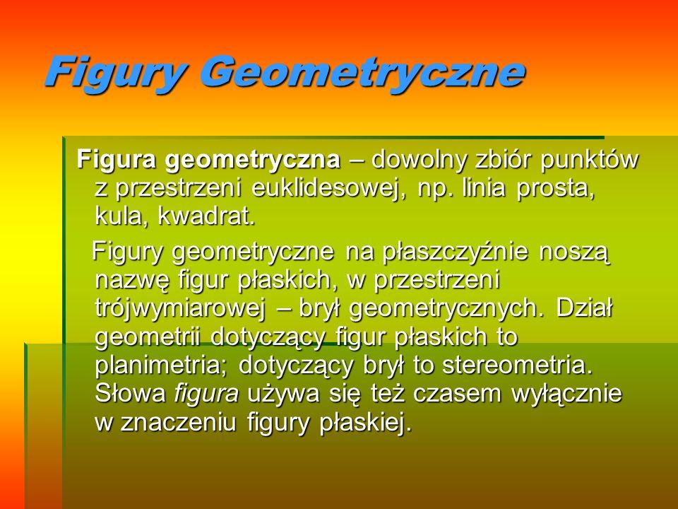 Figury GeometryczneFigura geometryczna – dowolny zbiór punktów z przestrzeni euklidesowej, np. linia prosta, kula, kwadrat.