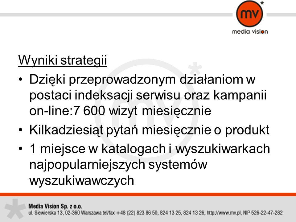 Wyniki strategii Dzięki przeprowadzonym działaniom w postaci indeksacji serwisu oraz kampanii on-line:7 600 wizyt miesięcznie.