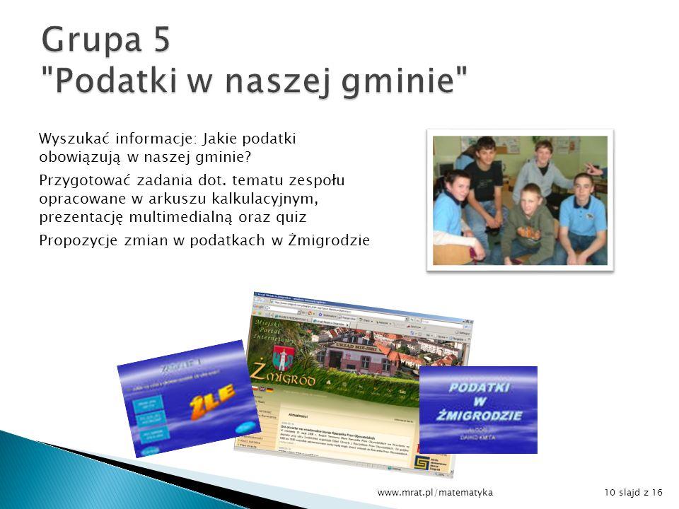 Grupa 5 Podatki w naszej gminie