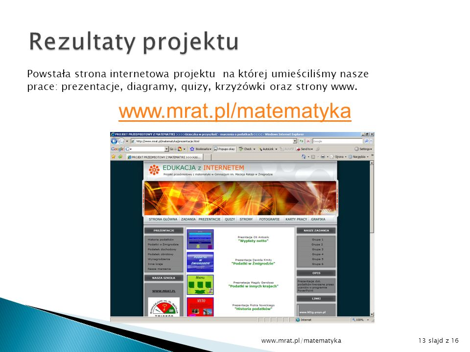 Rezultaty projektu www.mrat.pl/matematyka