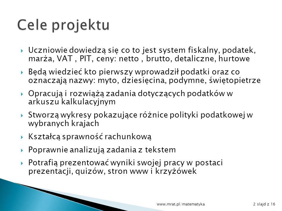 Cele projektu Uczniowie dowiedzą się co to jest system fiskalny, podatek, marża, VAT , PIT, ceny: netto , brutto, detaliczne, hurtowe.