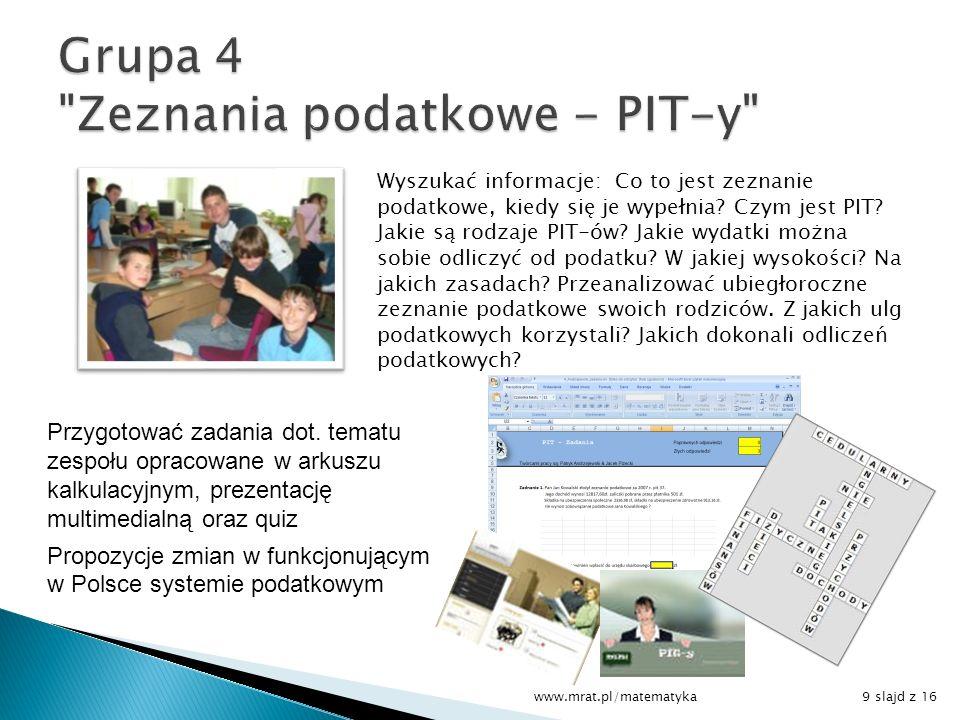 Grupa 4 Zeznania podatkowe - PIT-y