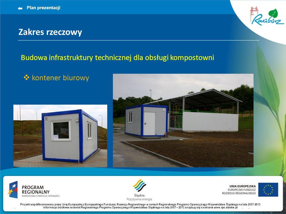 Plan prezentacji Zakres rzeczowy. Budowa infrastruktury technicznej dla obsługi kompostowni. kontener biurowy.