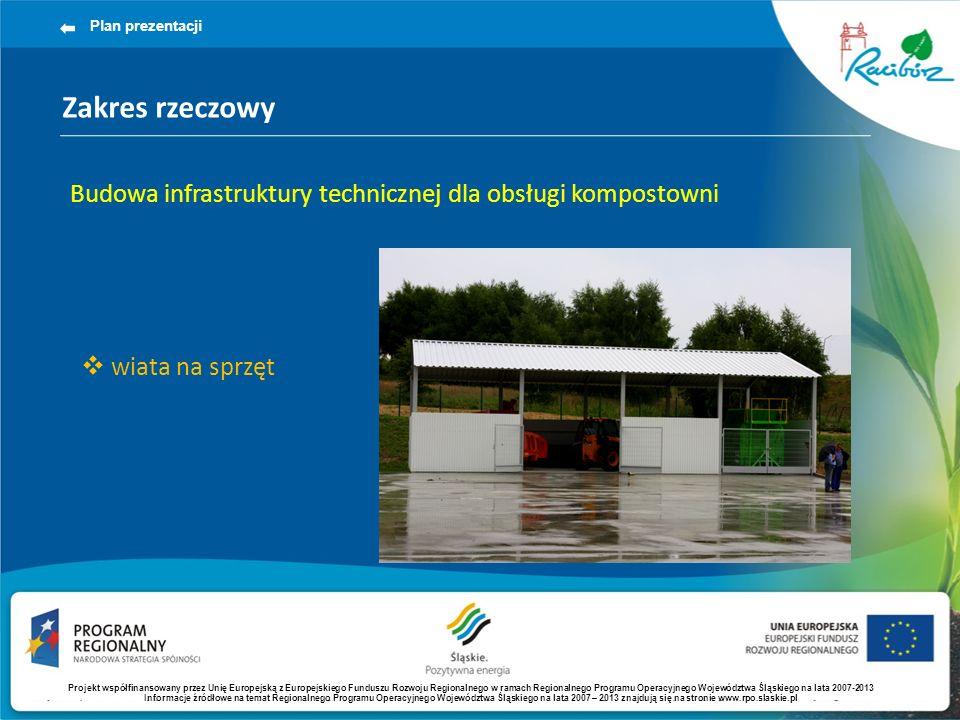 Plan prezentacji Zakres rzeczowy. Budowa infrastruktury technicznej dla obsługi kompostowni. wiata na sprzęt.