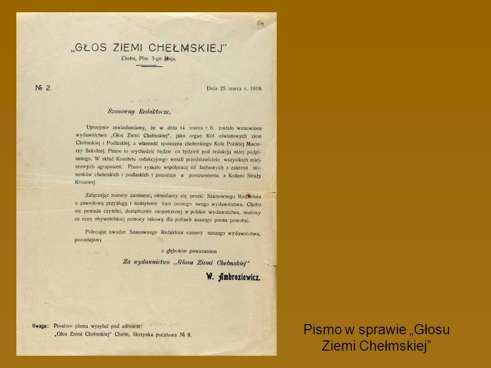 """Pismo w sprawie """"Głosu Ziemi Chełmskiej"""