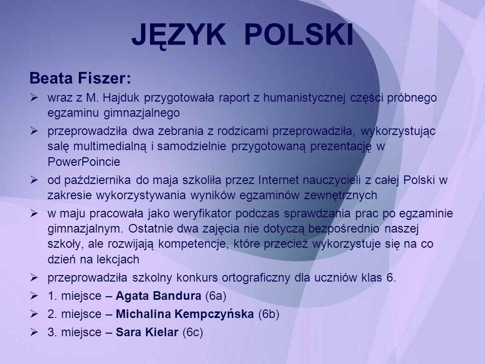 JĘZYK POLSKI Beata Fiszer :