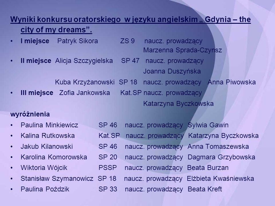 """Wyniki konkursu oratorskiego w języku angielskim """" Gdynia – the city of my dreams ."""