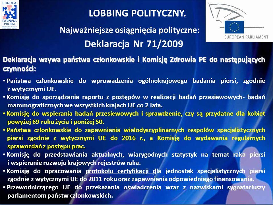 LOBBING POLITYCZNY. Deklaracja Nr 71/2009