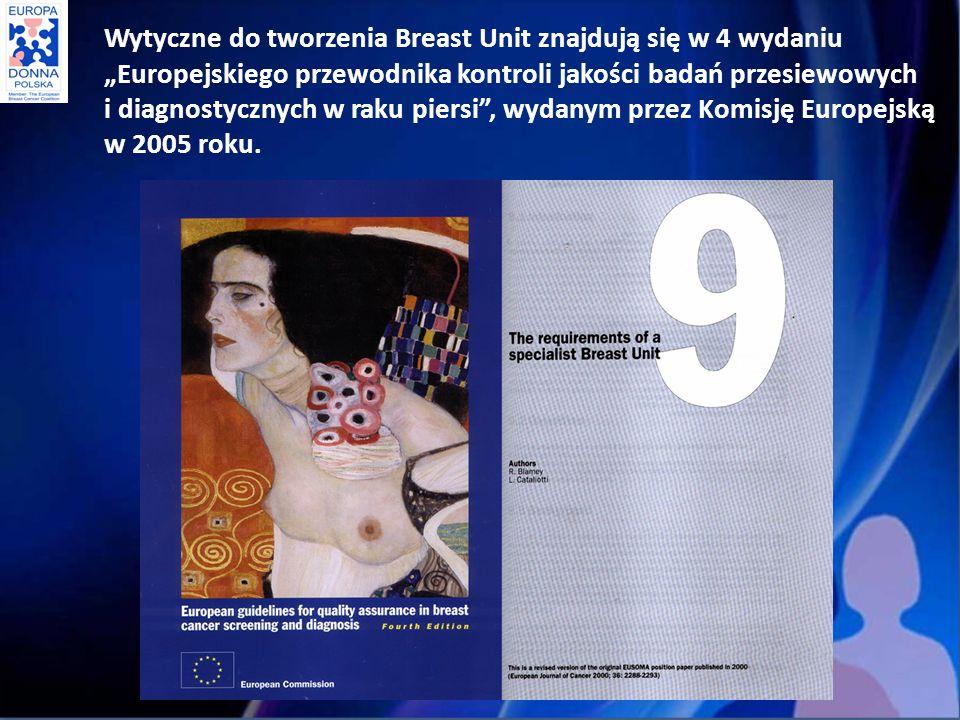 """Wytyczne do tworzenia Breast Unit znajdują się w 4 wydaniu """"Europejskiego przewodnika kontroli jakości badań przesiewowych i diagnostycznych w raku piersi , wydanym przez Komisję Europejską w 2005 roku."""
