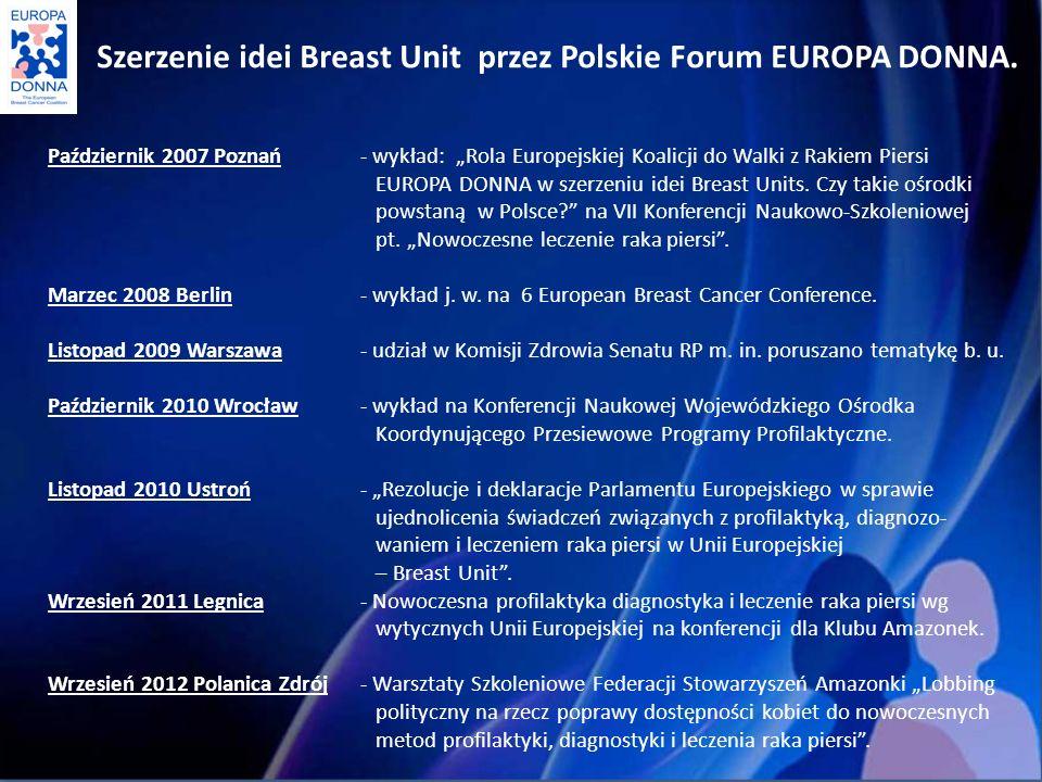 Szerzenie idei Breast Unit przez Polskie Forum EUROPA DONNA.
