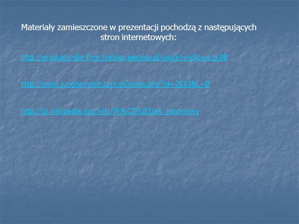 Materiały zamieszczone w prezentacji pochodzą z następujących stron internetowych:
