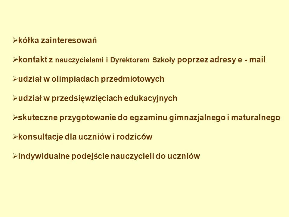 kółka zainteresowań kontakt z nauczycielami i Dyrektorem Szkoły poprzez adresy e - mail. udział w olimpiadach przedmiotowych.