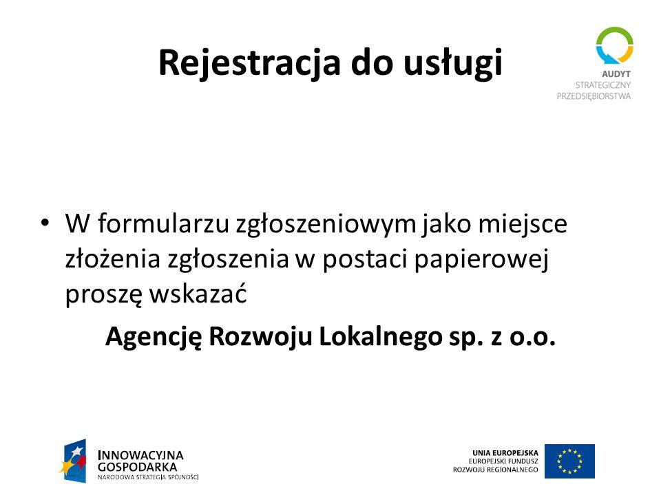 Agencję Rozwoju Lokalnego sp. z o.o.