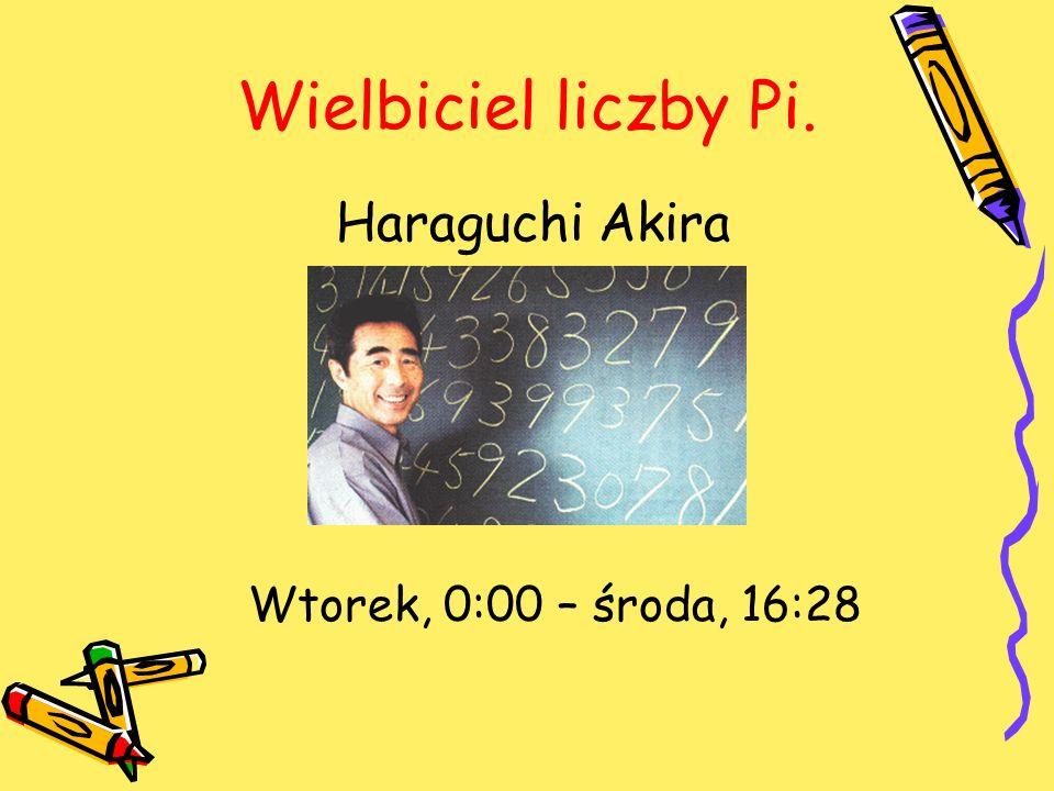 Wielbiciel liczby Pi. Haraguchi Akira Wtorek, 0:00 – środa, 16:28
