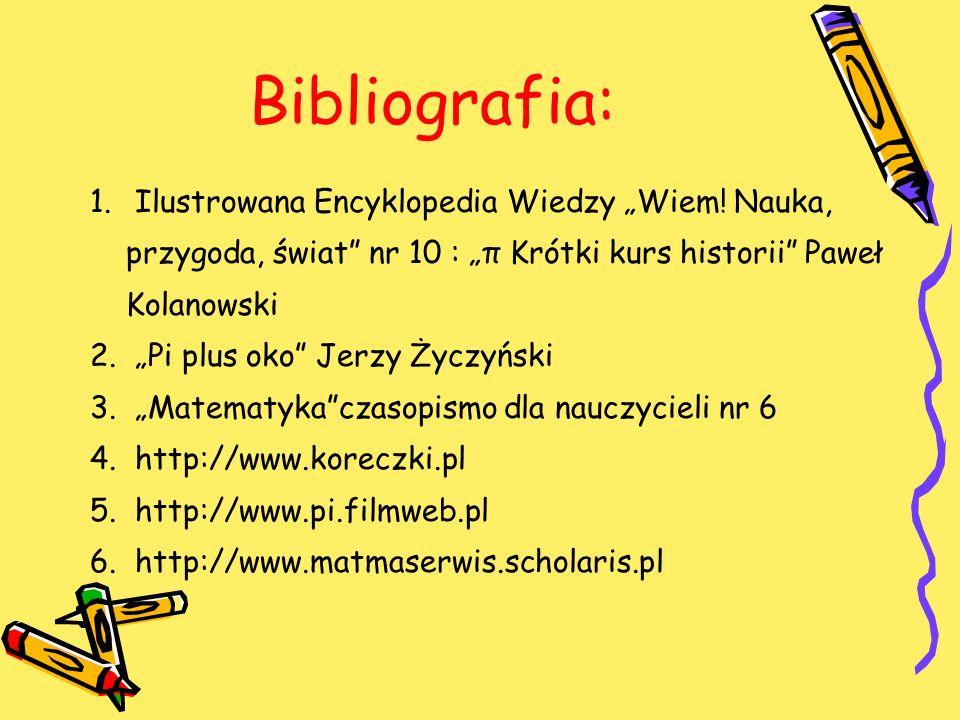 """Bibliografia: Ilustrowana Encyklopedia Wiedzy """"Wiem! Nauka, przygoda, świat nr 10 : """"π Krótki kurs historii Paweł Kolanowski."""