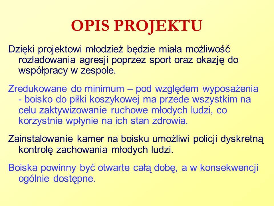 OPIS PROJEKTU Dzięki projektowi młodzież będzie miała możliwość rozładowania agresji poprzez sport oraz okazję do współpracy w zespole.
