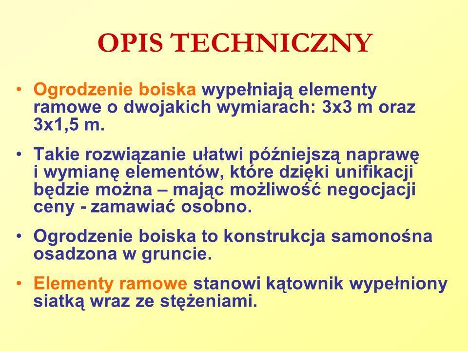 OPIS TECHNICZNY Ogrodzenie boiska wypełniają elementy ramowe o dwojakich wymiarach: 3x3 m oraz 3x1,5 m.