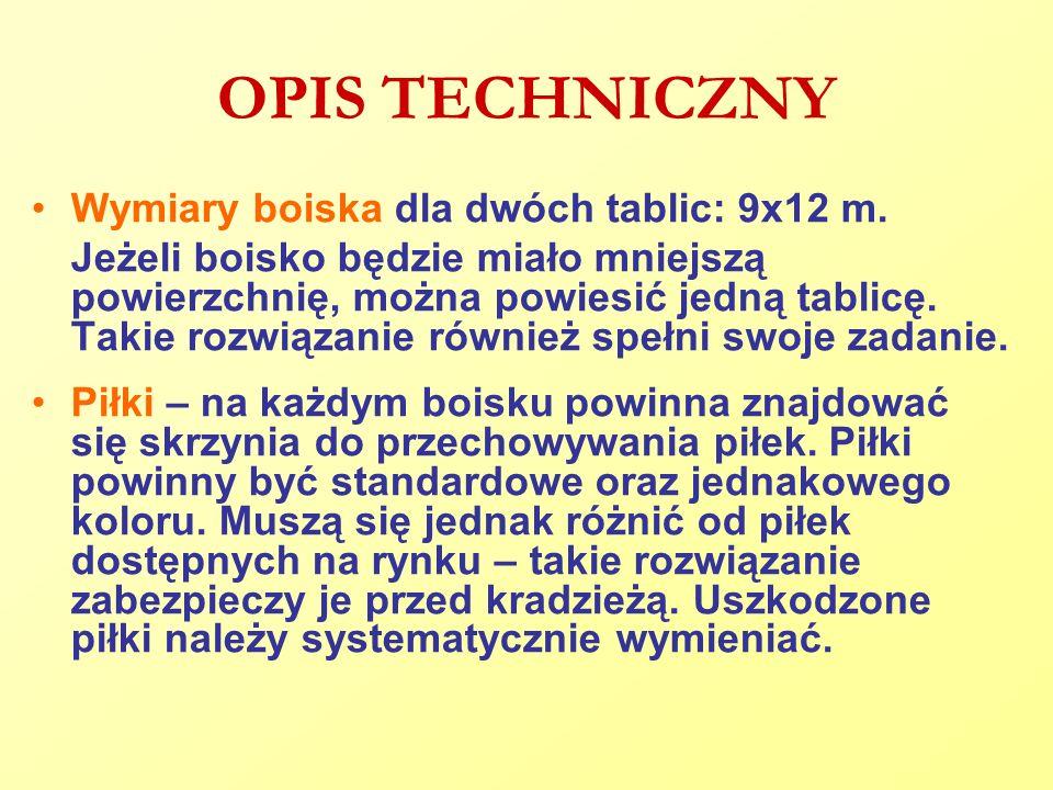 OPIS TECHNICZNY Wymiary boiska dla dwóch tablic: 9x12 m.