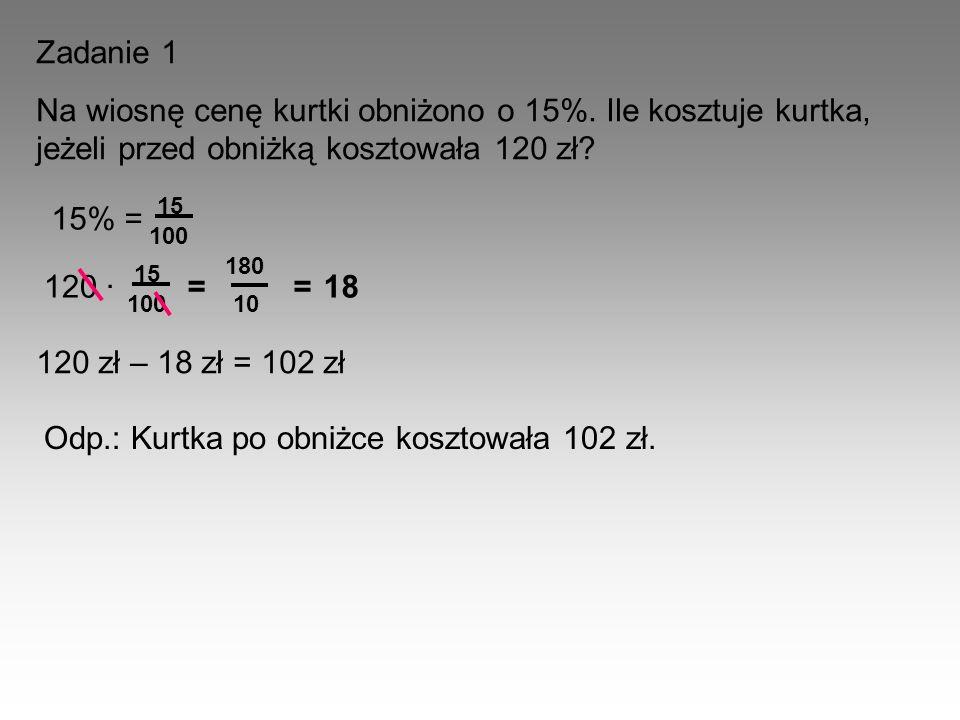 Odp.: Kurtka po obniżce kosztowała 102 zł.